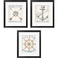 Framed Floursack Nautical  3 Piece Framed Art Print Set