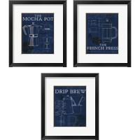 Framed Coffee Blueprint Indigo 3 Piece Framed Art Print Set