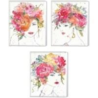 Framed Floral Figures 3 Piece Canvas Print Set