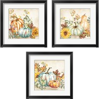 Framed Watercolor Harvest Pumpkin 3 Piece Framed Art Print Set