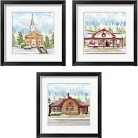 Framed Christmas Village 3 Piece Framed Art Print Set