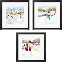 Framed Snowman Christmas 3 Piece Framed Art Print Set
