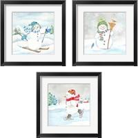 Framed Let it Snow Blue Snowman 3 Piece Framed Art Print Set