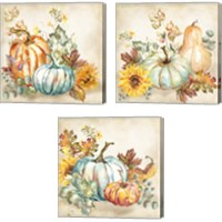 Framed Watercolor Harvest Pumpkin 3 Piece Canvas Print Set