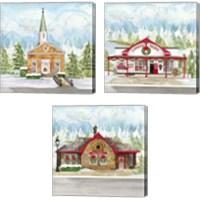 Framed Christmas Village 3 Piece Canvas Print Set