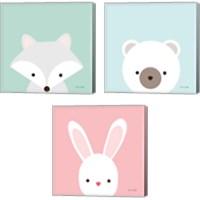 Framed Cuddly Animal 3 Piece Canvas Print Set