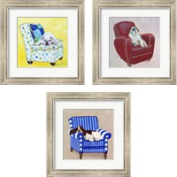 Framed Dogs on Chairs 3 Piece Framed Art Print Set