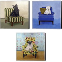 Framed Dogs on Chairs 3 Piece Canvas Print Set