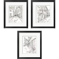 Framed European City Sketch 3 Piece Framed Art Print Set