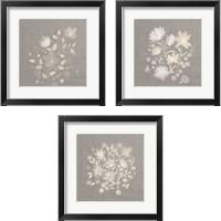 Framed Flower Bunch on Linen 3 Piece Framed Art Print Set