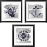Framed Nautical Brushed Midnight Blue 3 Piece Framed Art Print Set