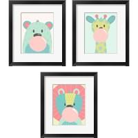 Framed Colorful Kids Animals 3 Piece Framed Art Print Set