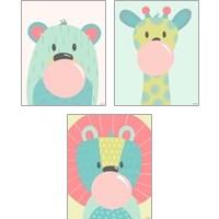 Framed Colorful Kids Animals 3 Piece Art Print Set