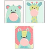 Framed Colorful Kids Animals 3 Piece Canvas Print Set