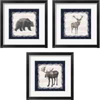 Framed Blue Cliff Mountains 3 Piece Framed Art Print Set