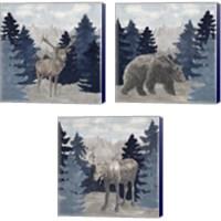 Framed Blue Cliff Mountains 3 Piece Canvas Print Set
