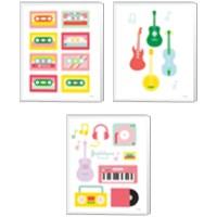 Framed Lets Listen to Music 3 Piece Canvas Print Set