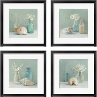 Framed Shells & Floral Spa 4 Piece Framed Art Print Set
