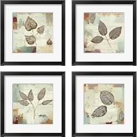 Framed Silver Leaves 4 Piece Framed Art Print Set