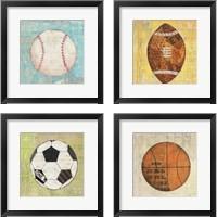 Framed Play Ball 4 Piece Framed Art Print Set