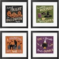Framed Haunted Halloween 4 Piece Framed Art Print Set