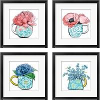 Framed Floral Teacups 4 Piece Framed Art Print Set