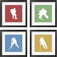 Framed Hockey Player Silhouette 4 Piece Framed Art Print Set