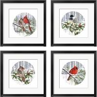 Framed Winter Wonder Bird 4 Piece Framed Art Print Set