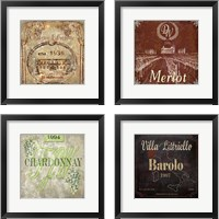 Framed Wine Label 4 Piece Framed Art Print Set