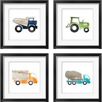 Framed Truck with Paint Texture 4 Piece Framed Art Print Set