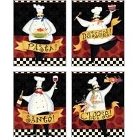 Framed Bon Appetit 4 Piece Art Print Set