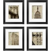 Framed Vintage NY 4 Piece Framed Art Print Set