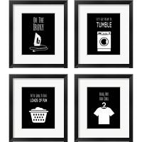 Framed Laundry - Black 4 Piece Framed Art Print Set
