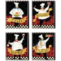 Framed Bon Appetit 4 Piece Canvas Print Set