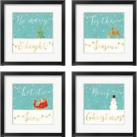 Framed Underlined Christmas 4 Piece Framed Art Print Set