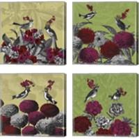 Framed Blooming Birds Florals 4 Piece Canvas Print Set