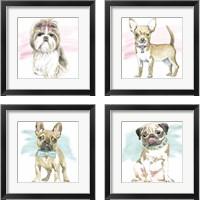 Framed Glamour Pups 4 Piece Framed Art Print Set