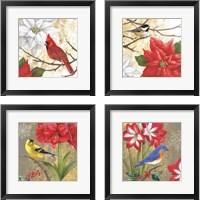 Framed Winter Birds Collage 4 Piece Framed Art Print Set