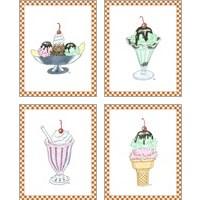 Framed Ice Cream Parlor 4 Piece Art Print Set