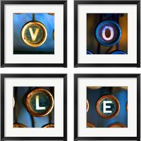 Framed Typewriter 'LOVE' 4 Piece Framed Art Print Set