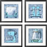 Framed Blue On Blue Appliances 4 Piece Framed Art Print Set