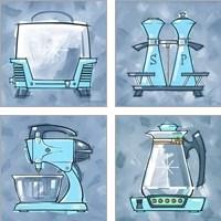 Framed Blue On Blue Appliances 4 Piece Art Print Set