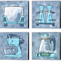 Framed Blue On Blue Appliances 4 Piece Canvas Print Set