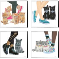 Framed Cutie Kitties 4 Piece Canvas Print Set