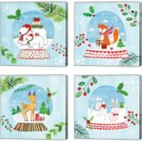 Framed Snow Globe Animals 4 Piece Canvas Print Set