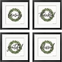 Framed Blessed & Grateful 4 Piece Framed Art Print Set