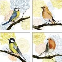 Framed Mandala Bird 4 Piece Art Print Set