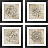 Framed Rosette Neutral 4 Piece Framed Art Print Set