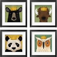 Framed Animal with Crown 4 Piece Framed Art Print Set