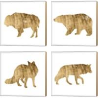 Framed Brushed Gold Animals 4 Piece Canvas Print Set
